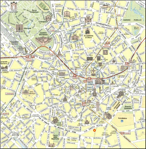 High-resolution large map of Milan - download for print out