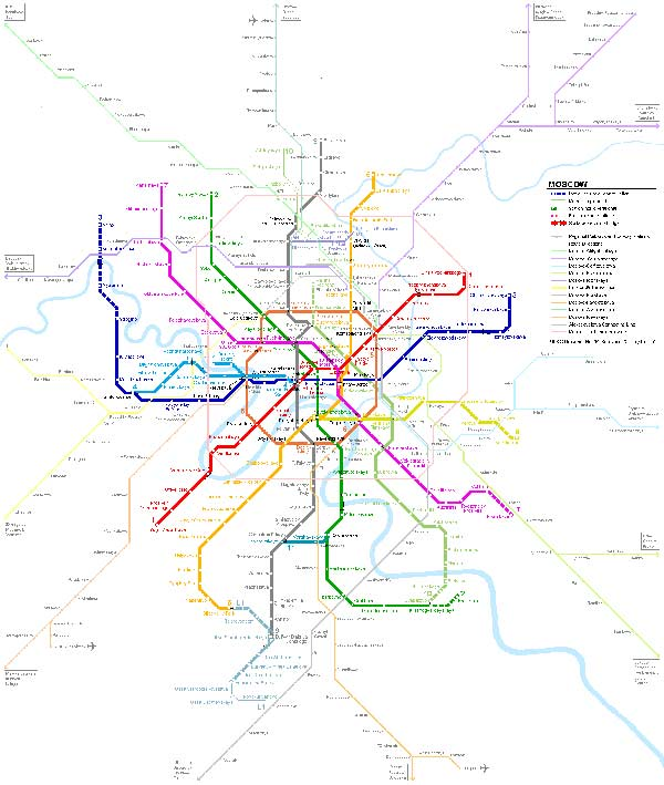 Detailed metro map of of Moscow - download for print out.