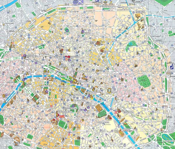 High-resolution large map of Paris - download for print out