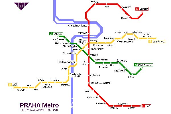 Detailed metro map of Prague - download for print out