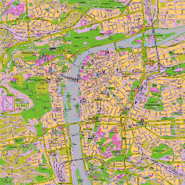 High-resolution large map of Prague - download for print out