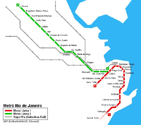 Detailed metro map of Rio de Janeiro - download for print out