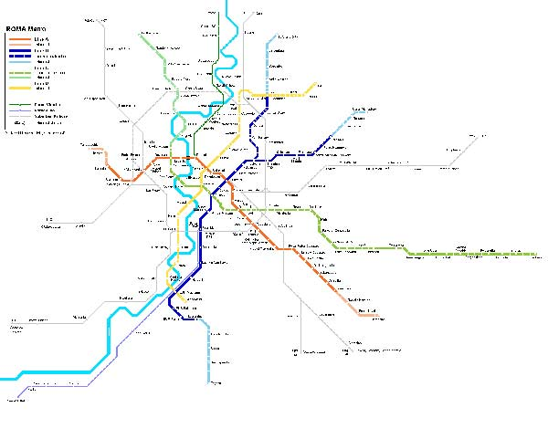 Detailed metro map of Rome - download for print out