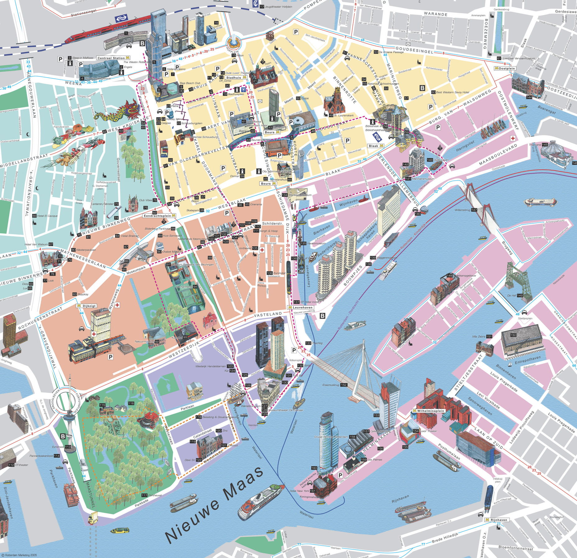 High resolution large map of rotterdam download for print out