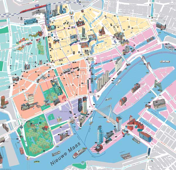High-resolution large map of Rotterdam - download for print out