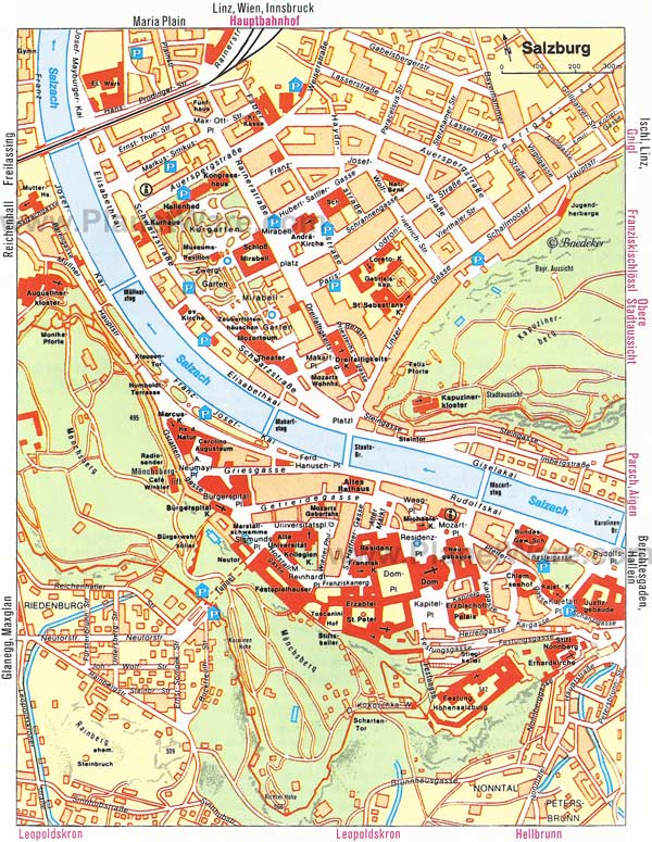High-resolution large map of Salzburg - download for print out