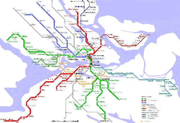 Detailed metro map of Stockholm - download for print out