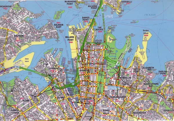 High-resolution large map of Sydney - download for print out