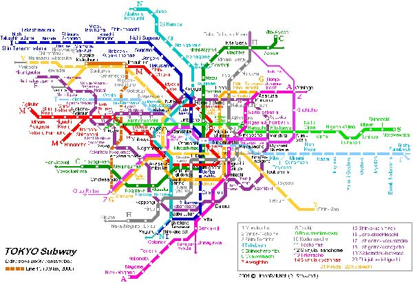 Detailed metro map of Tokyo - download for print out