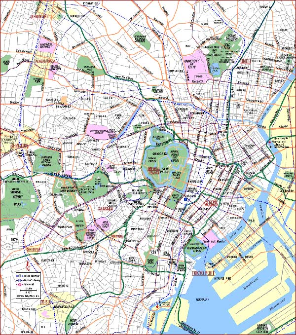 High-resolution large map of Tokyo - download for print out