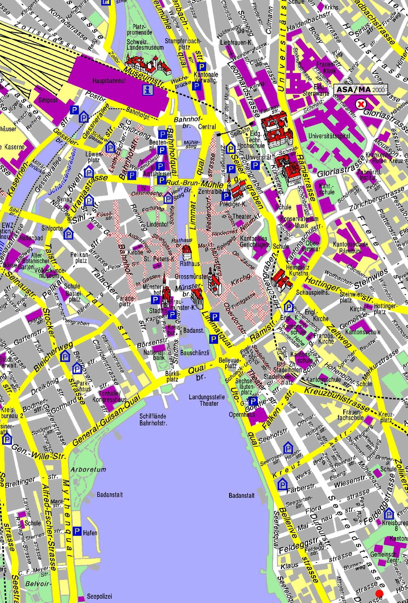 Zurich Map - Detailed City and Metro Maps of Zurich for Download