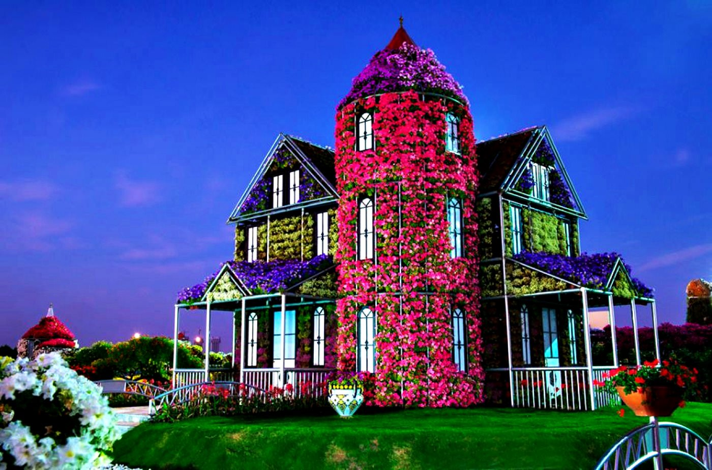 Красивый дом цветы фото