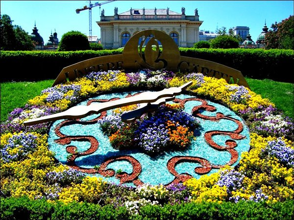 Flower Clock in Vienna, Austria