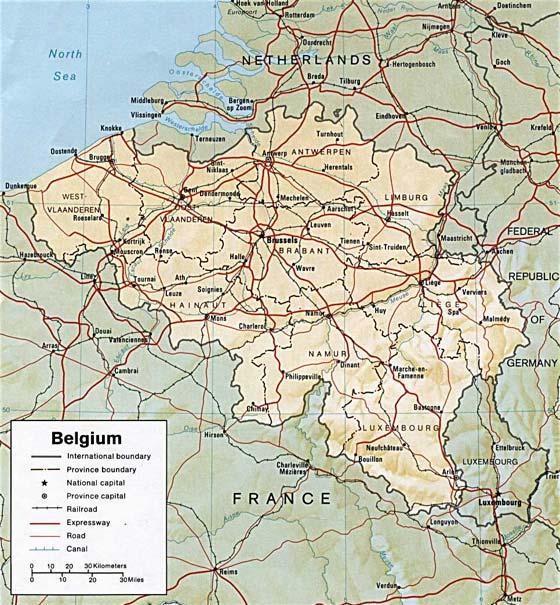 Детальная карта Бельгии - скачать или распечатать
