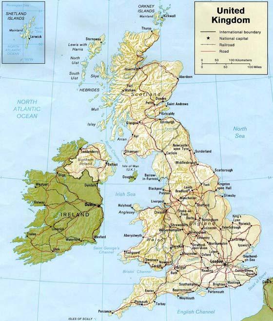 Детальная карта Великобритании - скачать или распечатать