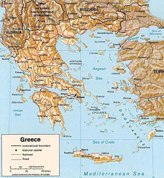 Детальная карта Греции - скачать или распечатать