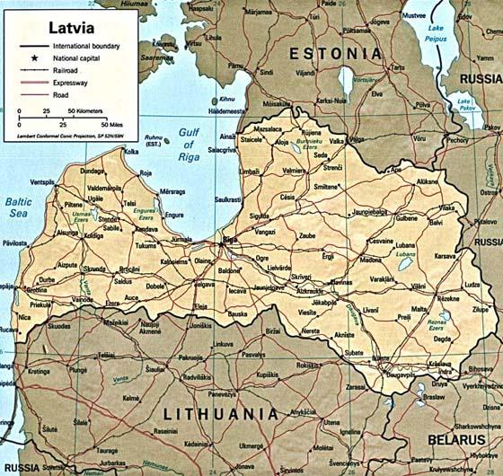 Детальная карта Латвии - скачать или распечатать