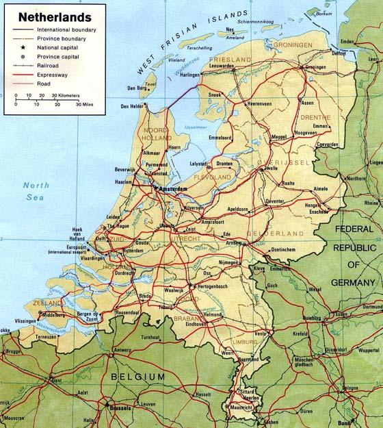 Детальная карта Голландии - скачать или распечатать