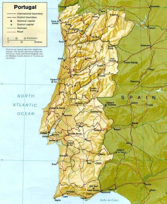 Детальная карта Португалии - скачать или распечатать