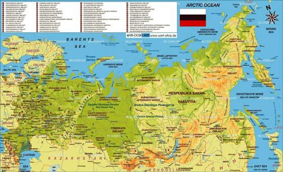 Детальная карта России для печати или скачивания