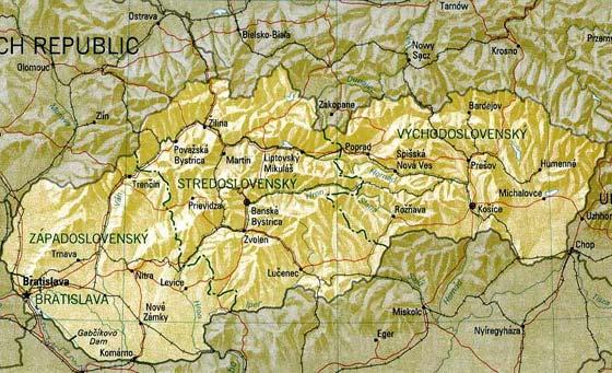 Детальная карта Словакии - скачать или распечатать