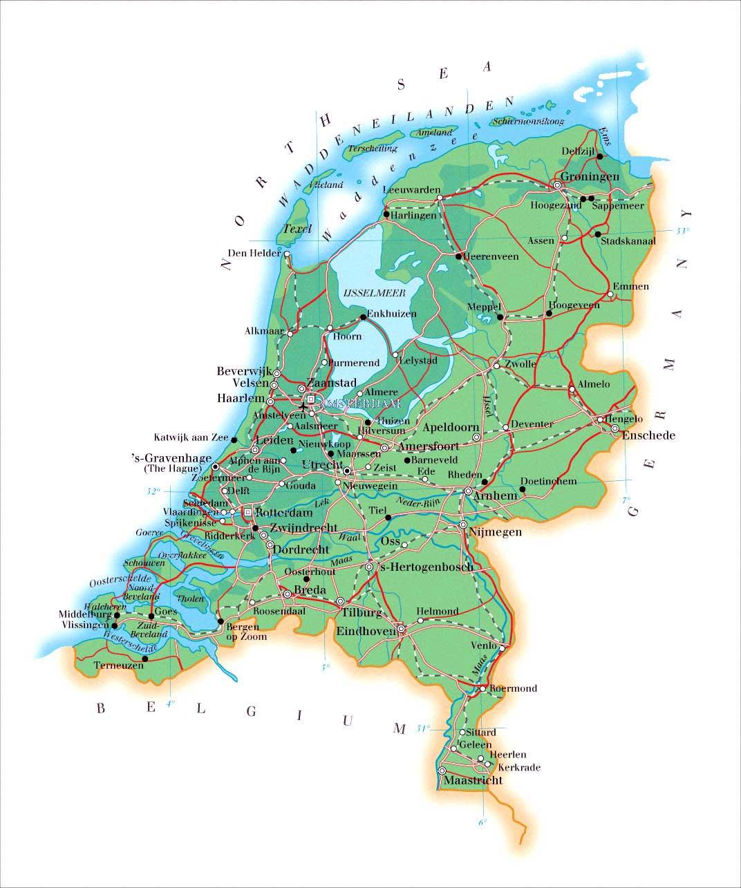 Kaart Van Nederland In Hoge Resolutie Voor Download Nederland Kaart