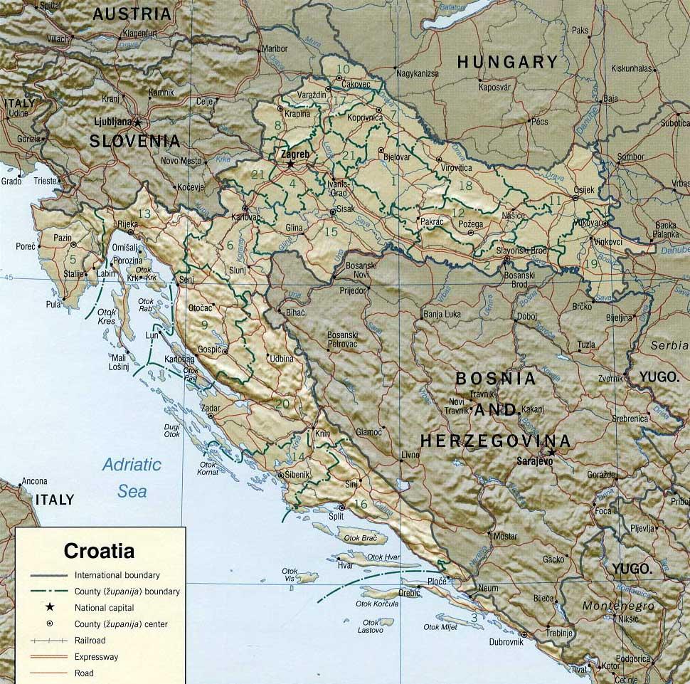 Kaart Van Kroatie In Hoge Resolutie Voor Download Kroatie Kaart