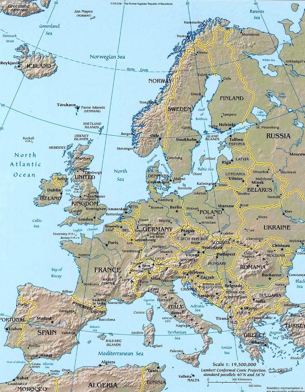 Evropa Podrobnaya Karta Evropy Ckachat Ili Raspechatat Karta