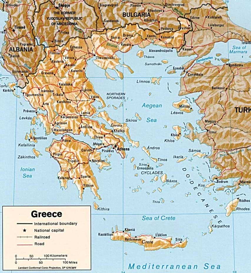Kaart Van Griekenland In Hoge Resolutie Voor Download