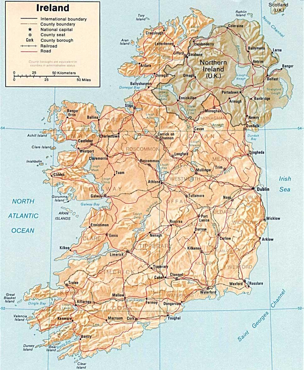 Kaart Van Ierland In Hoge Resolutie Voor Download Ierland Kaart