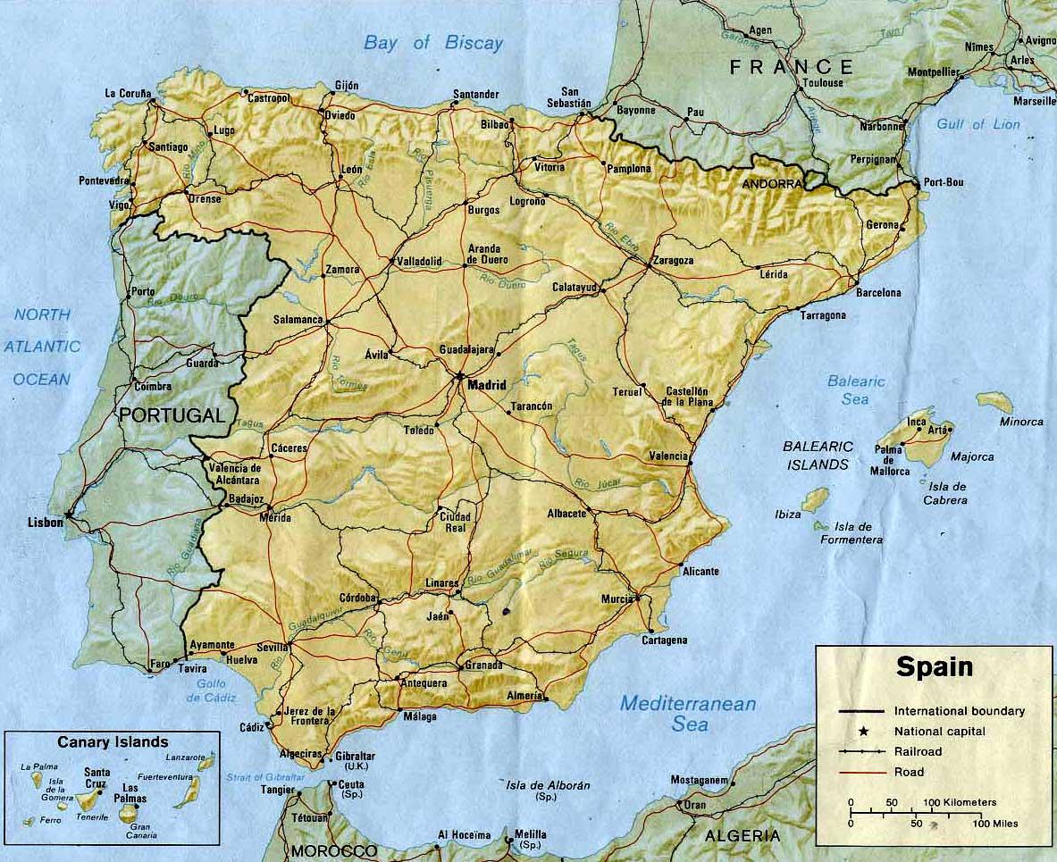 Kaart Van Spanje In Hoge Resolutie Voor Download Kaart