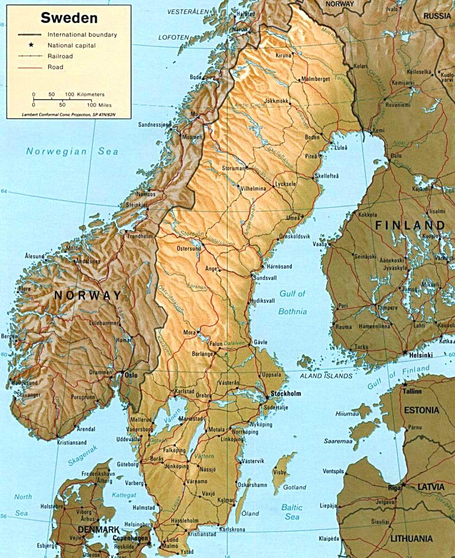 Kaart Van Zweden In Hoge Resolutie Voor Download Kaart Zweden