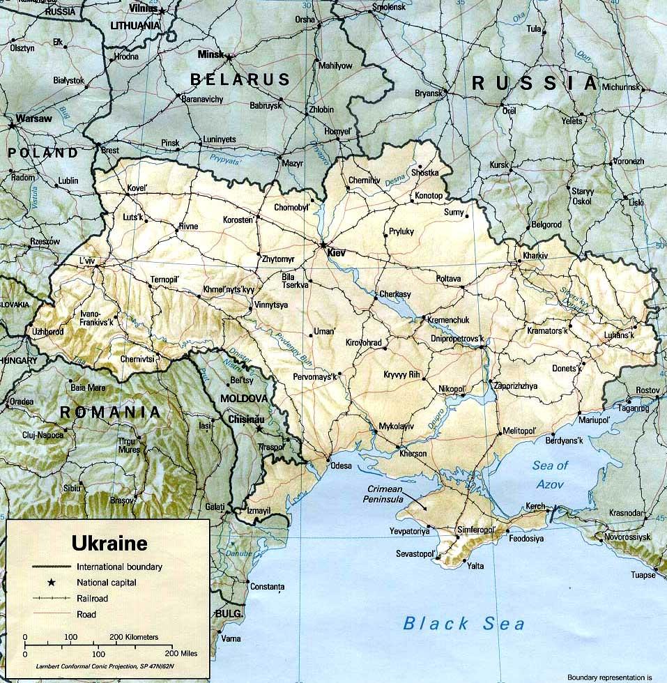 Детальная карта Украины - скачать или распечатать.